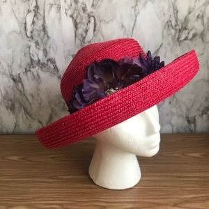Betmar New York Red Straw Hat